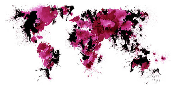 Dark Pink Drawing - World Maps 5 by Prar Kulasekara