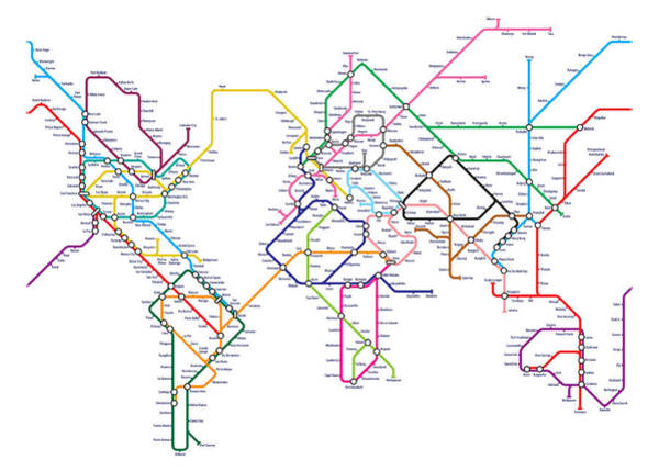 World Map Digital Art - World Metro Tube Map by Michael Tompsett