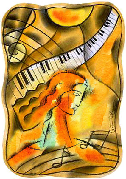 Wall Art - Painting - World Of Music by Leon Zernitsky