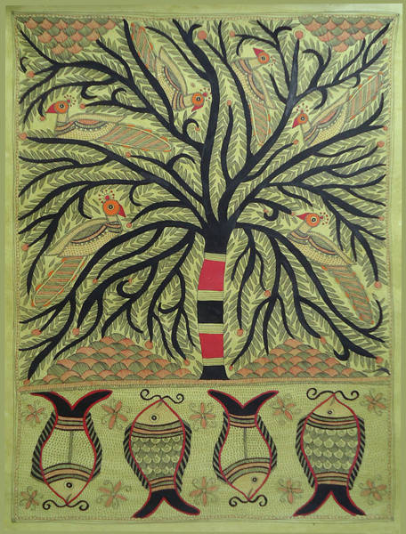 Madhubani Painting - World Oldest Folk Art D Madhubani Painting Of Peacocks On Tree, Fishes In Pond.. by D Arts