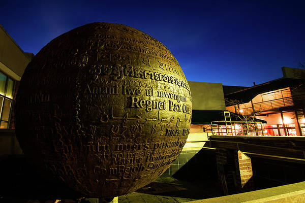 Photograph - World Peace Prayer Sphere - Downtown Fayetteville Arkansas by Gregory Ballos
