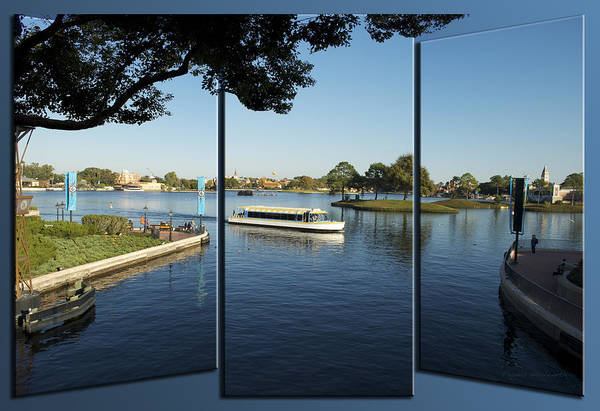 Doona Mixed Media - World Showcase Lagoon Boat Ride Wdw Triptych 3 Panel 03 by Thomas Woolworth