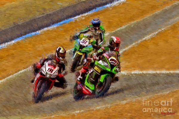 Photograph - World Superbike's Jonathan Rea Leads Leon Haslam  by Blake Richards