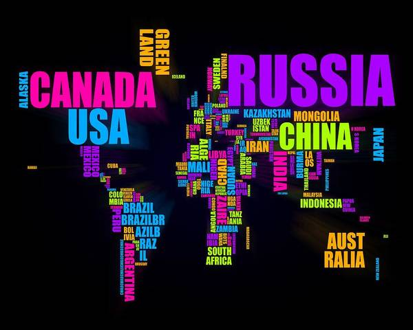 World Map Digital Art - World Text Map 16x20 by Michael Tompsett