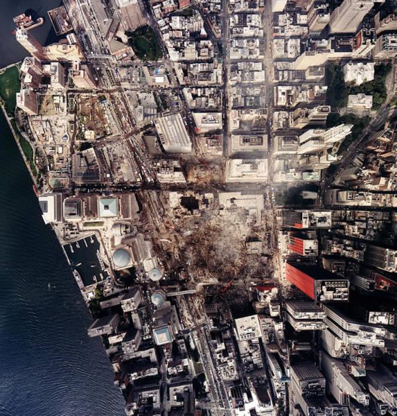 September 11 Attacks Photograph - World Trade Center, Aerial Photograph by Everett