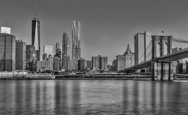 Photograph - World Trade Center And The Brooklyn Bridge Bw by Susan Candelario