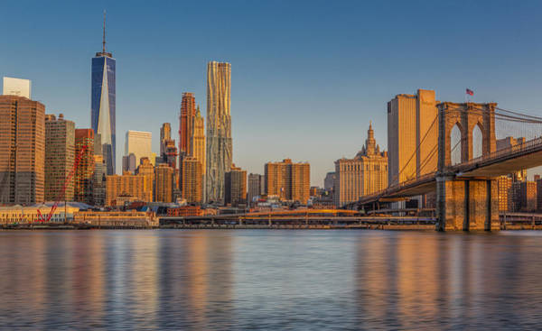 Photograph - World Trade Center And The Brooklyn Bridge by Susan Candelario