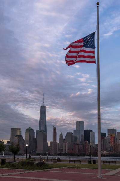 Photograph - World Trade Center Freedom Tower New York City American Flag by Terry DeLuco
