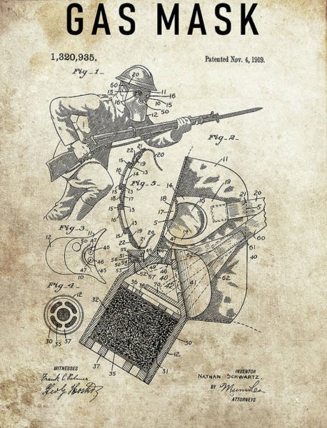 Wall Art - Drawing - World War 1 Gas Mask by Dan Sproul
