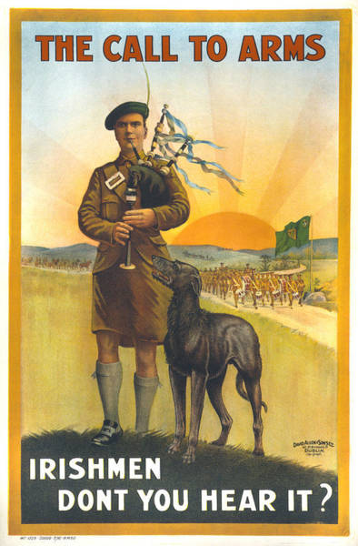 Bagpipes Wall Art - Photograph - World War I, Irish Military Recruitment by Everett