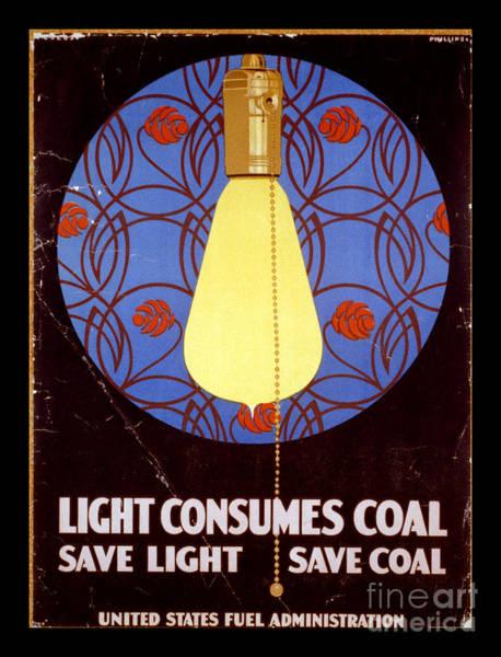 Wall Art - Photograph - World War I Light Consumes Coal Poster 1917 by John Stephens