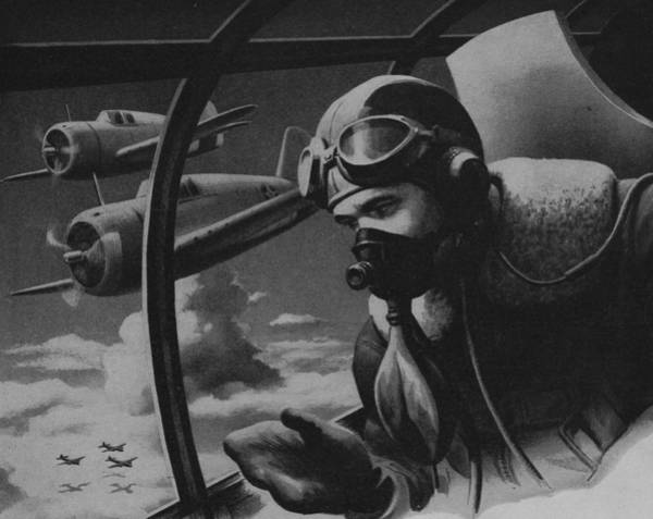 Wall Art - Painting - World War II Fighter Pilot by American School