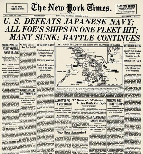 Wall Art - Photograph - World War II: Leyte Gulf by Granger