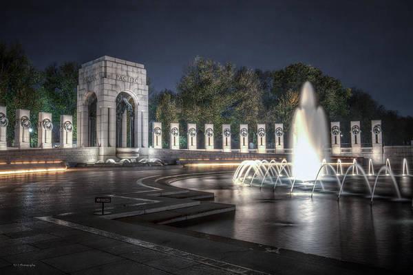 Photograph - World War II Memorial At Night by Ross Henton