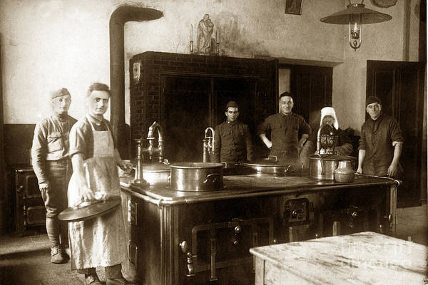 Photograph - World War One Army Kitchen 1918 by California Views Archives Mr Pat Hathaway Archives