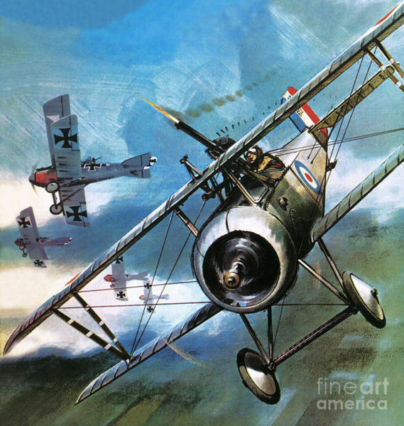 Wall Art - Painting - World War One Dogfight by Wilf Hardy