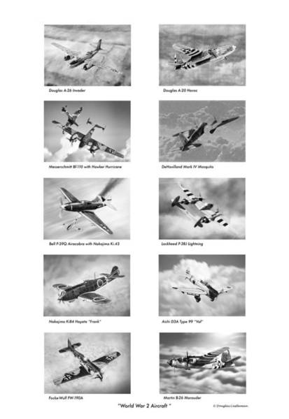 Drawing - World War Two Aircraft Drawings by Douglas Castleman