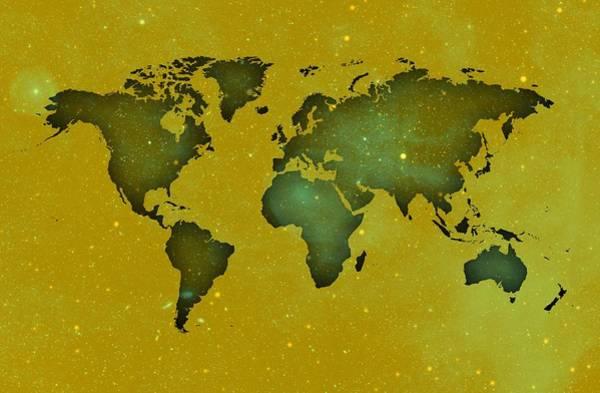 Digital Art - Worldmap In Green Space. by Alberto RuiZ
