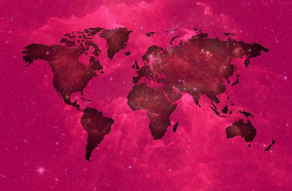 Digital Art - Worldmap In Purple Space. by Alberto RuiZ