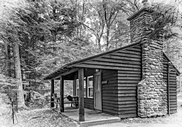 Civilian Conservation Corps Wall Art - Photograph - Worlds End Cabin 2 - Paint Bw by Steve Harrington