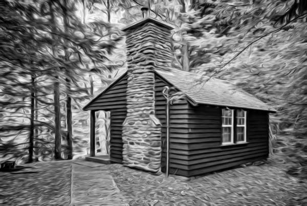 Civilian Conservation Corps Wall Art - Photograph - Worlds End Cabin - Paint Bw by Steve Harrington