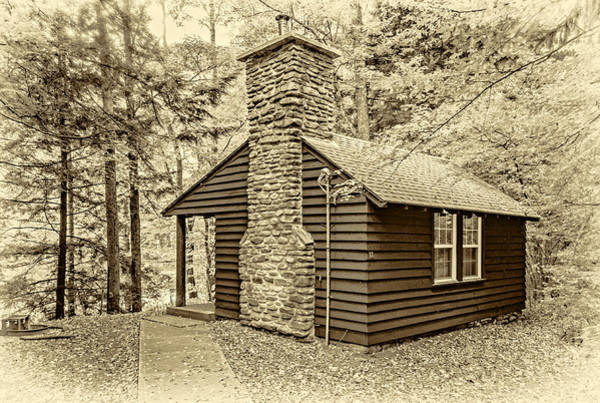 Civilian Conservation Corps Wall Art - Photograph - Worlds End Cabin - Sepia by Steve Harrington