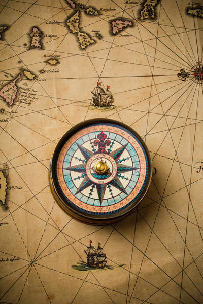 Wall Art - Photograph - Worn Antique Map And Compass by Garry Gay