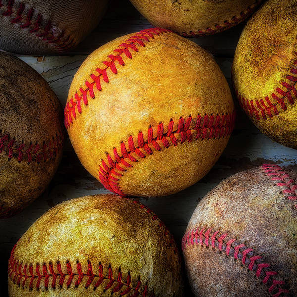 Wall Art - Photograph - Worn Weathered Baseballs 2 by Garry Gay