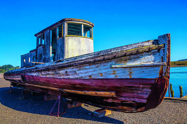 Dry Dock Photograph - Worn Weathered Boat by Garry Gay