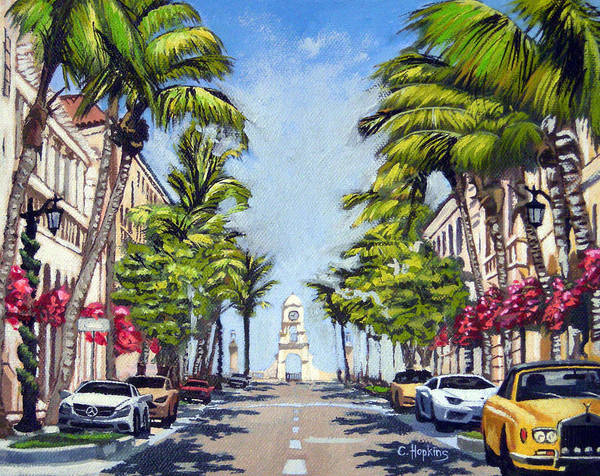 Wall Art - Painting - Worth Avenue - Palm Beach Florida by Christine Hopkins