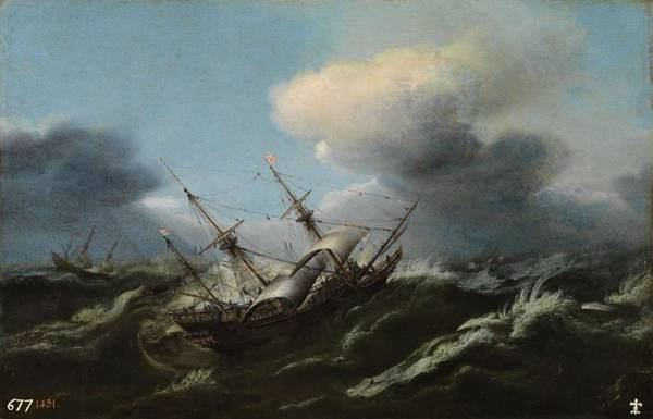 Painting - Wou Claes Claesz Amsterdam 1592   Amsterdam 1665 Ships In A Storm Second Third Of The Xvii Centur by Artistic Panda