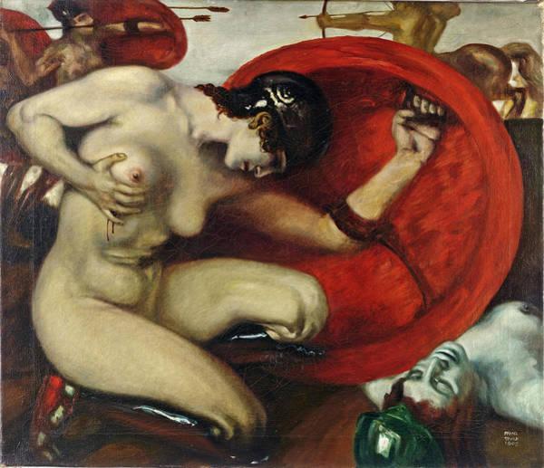 Franz Von Stuck Painting - Wounded Amazon by Franz von Stuck