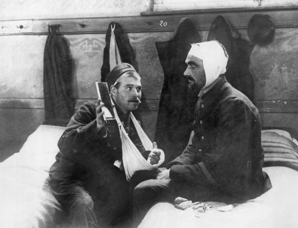 Antwerp Photograph - Wounded Belgian Soldiers by Underwood Archives