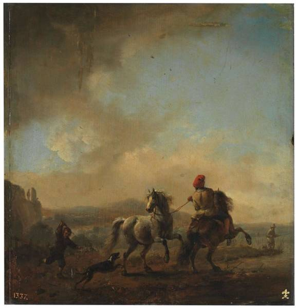 Painting - Wouwerman  Philips Haarlem  1619   Haarlem 1668 Horses Startled By A Dog Ca  1650. by Artistic Panda