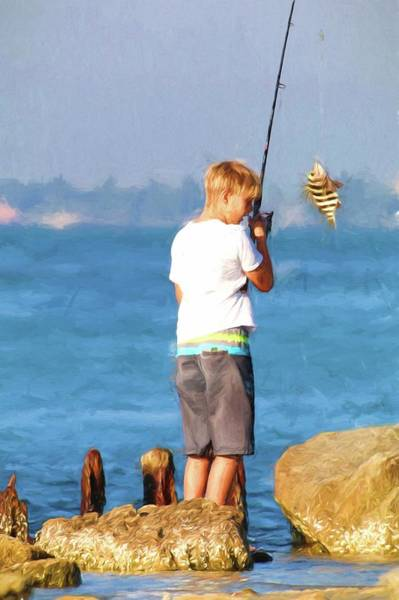 Photograph - Wow Dad I Caught A Fish by Carol Montoya