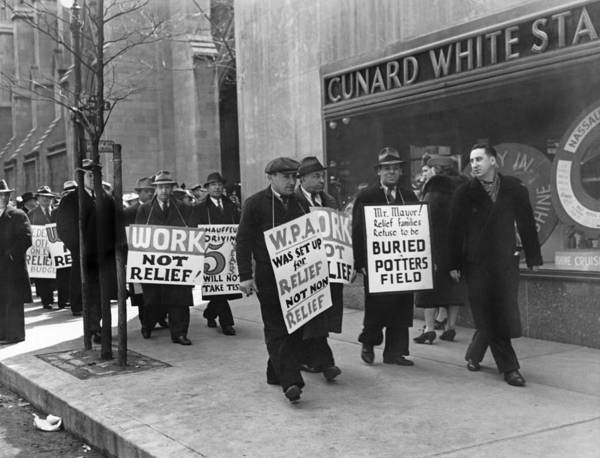Works Progress Administration Photograph - Wpa Pickets On Fifth Avenue by Underwood Archives