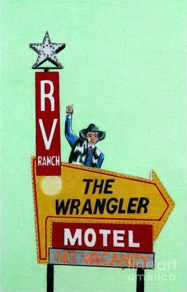 Neon Drawing - Wrangler Motel by Glenda Zuckerman