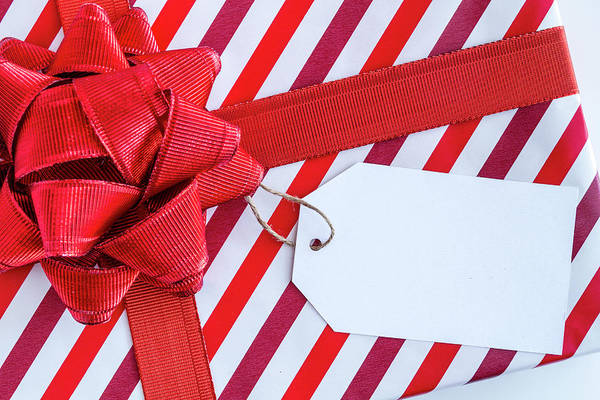 Photograph - Wrapped Christmas Present With Bow by Teri Virbickis