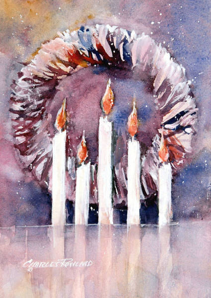 Painting - Liberty - Wreath And Candle by Charles Rowland
