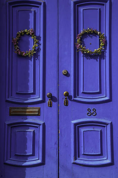Mail Slot Photograph - Wreath On Blue Doors by Garry Gay
