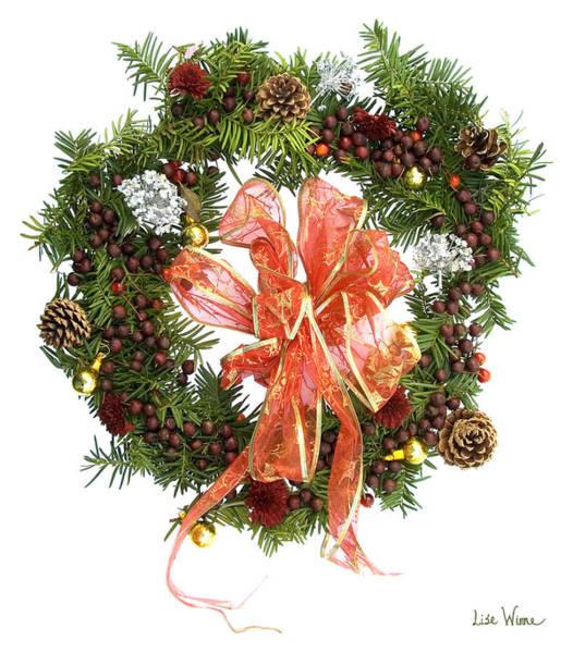 Digital Art - Wreath With Bow by Lise Winne