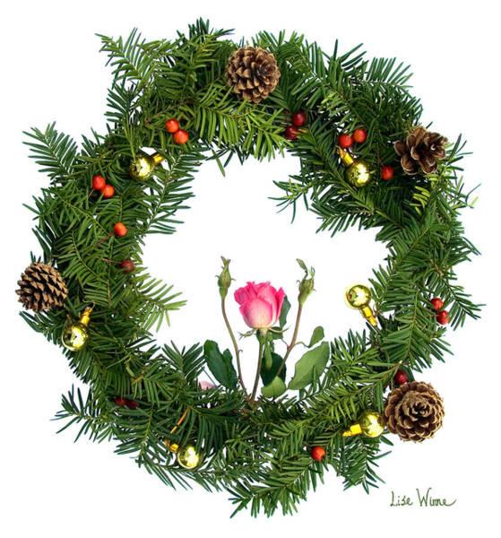 Digital Art - Wreath With Rose by Lise Winne