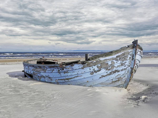 Flake Photograph - Wreck Of A Barge On A Baltic Beach by Joachim G Pinkawa