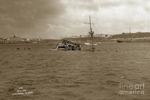 Photograph - Wreckage Of The Uss Maine In Havana Harbor, Cuba, Which Was Sunk In 1898 by California Views Archives Mr Pat Hathaway Archives