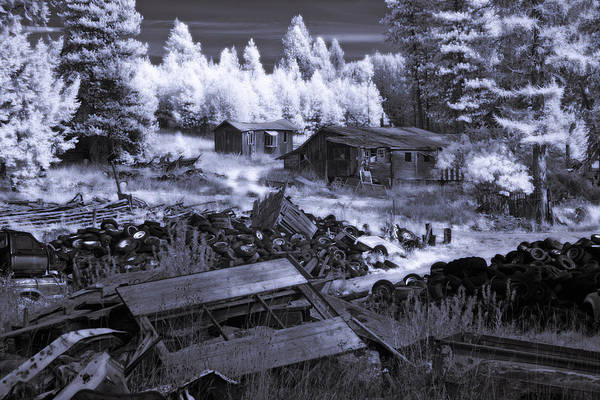 Photograph - Wrecking Yard In Infrared by Lee Santa