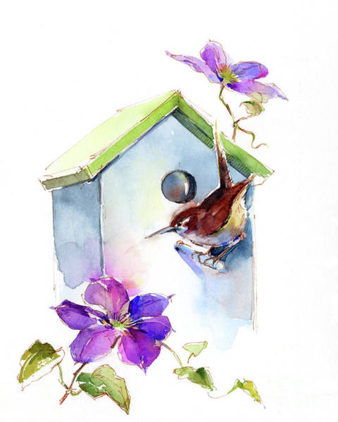 Wren Painting - Wren With Birdhouse And Clematis by John Keeling