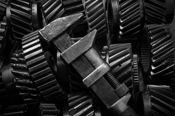 Deterioration Photograph - Wrench On Gears by Garry Gay