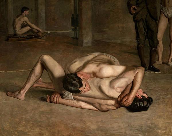 Wall Art - Painting - Wrestlers by Thomas Eakins