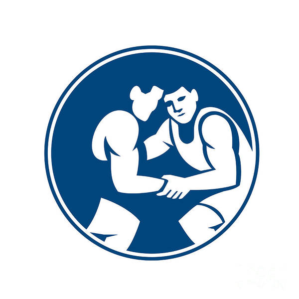 Wrestlers Wrestling Circle Icon Art Print