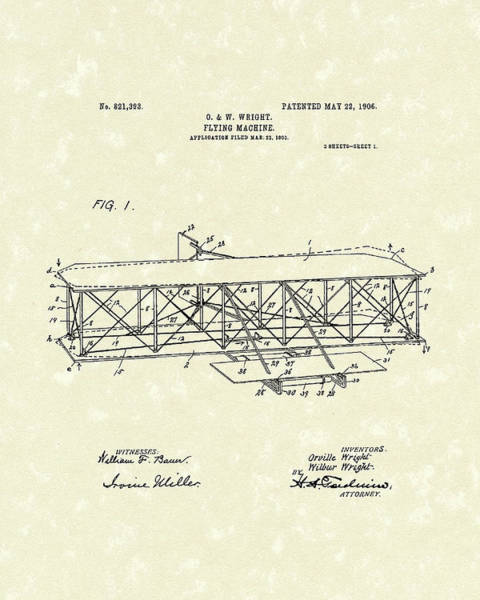 Patent Drawing Wall Art - Drawing - Wright  Brothers Flying Machine 1906 Patent Art by Prior Art Design